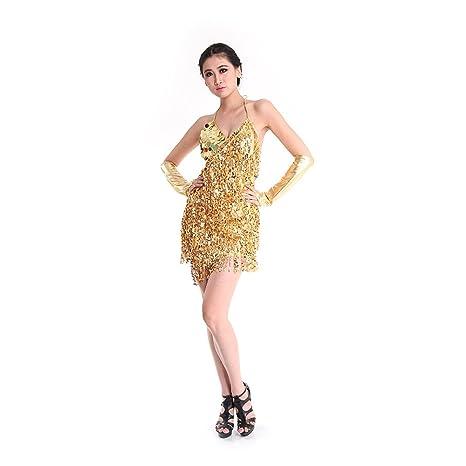 e7388a735625 SymbolLife Latin Dance Dress, Women Ballroom Salsa Samba Rumba Tango Rhythm  Sexy Tassel Sequins Latin