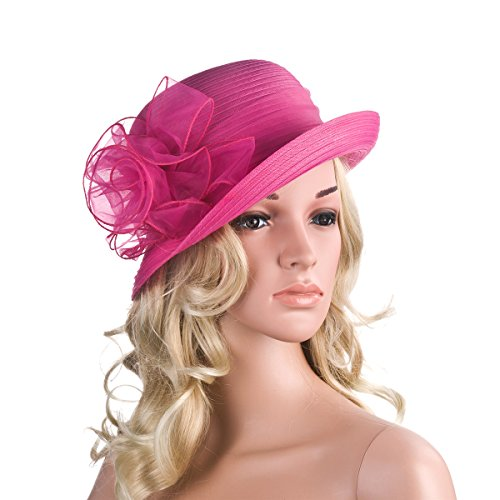 Pure Color 1920s Womens Summer Organza Bowler Sun Hat Derby Tea Party A267 (Hot Pink)