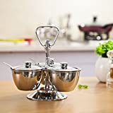 LC Prime Stainless steel 3-Unit Revolving Relish Server Set kitchenware stainless steel plastic silver 1