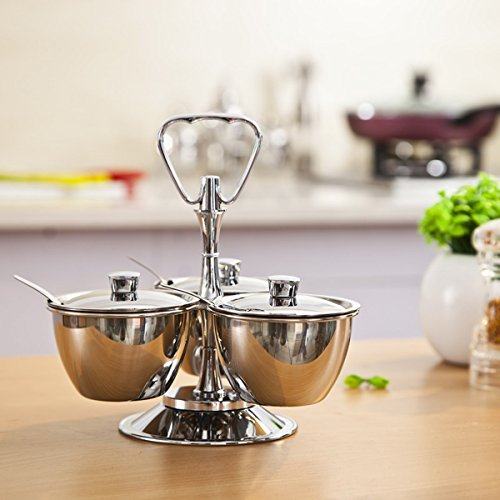 LC Prime Stainless steel 3-Unit Revolving Relish Server Set kitchenware stainless steel plastic silver - Server Pepper
