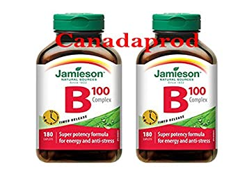 Jamieson Vitamin B100 Complex Timed Release 180caplets x 2(2 Bottles)
