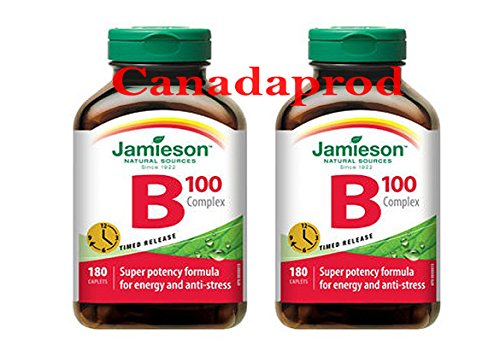 Jamieson Vitamin B100 Complex Timed Release 180caplets x 2(2 bottles) by Jamieson