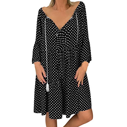 Aniywn Women Polka Dot Print Dress, Long Sleeve V-Neck Loose Summer Mini Dress Plus Size Vintage Dresses Black ()