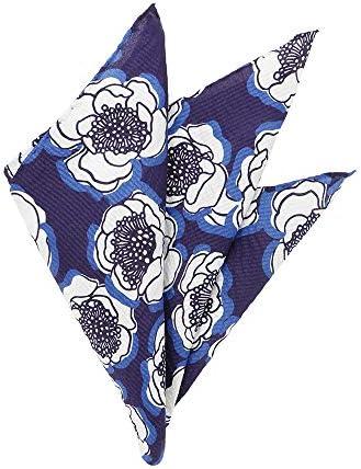 (ザ・スーツカンパニー) Daniel/フラワープリント シルクポケットチーフ ネイビー×ホワイト×ブルー