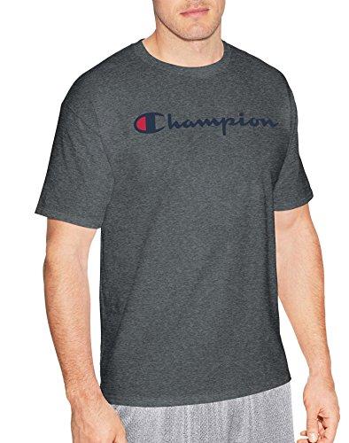Champion Men's Classic Jersey Script T-Shirt, Charcoal Heather Script, S