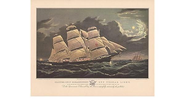 "1952 Vintage Currier /& Ives /""CLIPPER SHIP DREADNOUGHT/"" TUSKAR COLOR Lithograph"