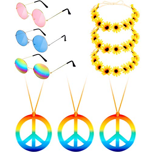 Fiada 9 Pieces Hippie Costume Set, Includes 3 Pieces Hippie Glasses, 3 Pieces Peace Sign Necklaces, 3 Pieces Daisy Sunflower Hairbands for Summer Wearing (Color Set 2)