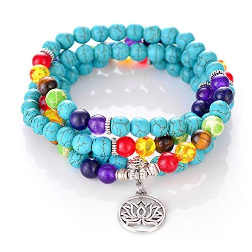 M MOOHAM 108 Chakra Bracelet Mala Bead - 8mm Semi-Precious Healing Turquoise Bead 108 Buddhist Prayer Mala Beads Anxiety Bracelet Tree of Life 7 Chakra Bracelet Necklace