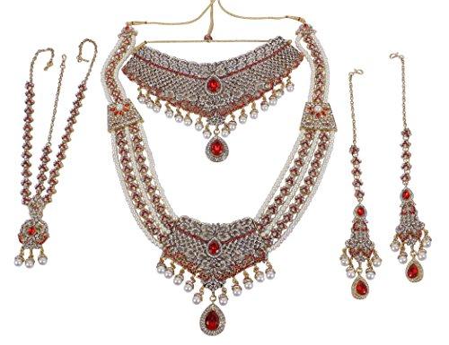 Plusencore ethnique traditionnel Doré Pierre de Cristal de style indien Collier Ensemble de bijoux