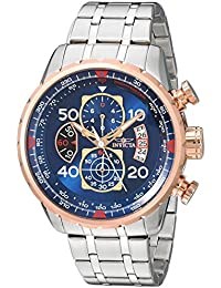 Men's 17203 AVIATOR Stainless Steel and 18k Rose Gold Ion-Plated Watch
