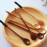"""C Long Handle Wooden Mixing Spoon Tie Wire Round Handle Ladle Stirring Spoon"" shopping"