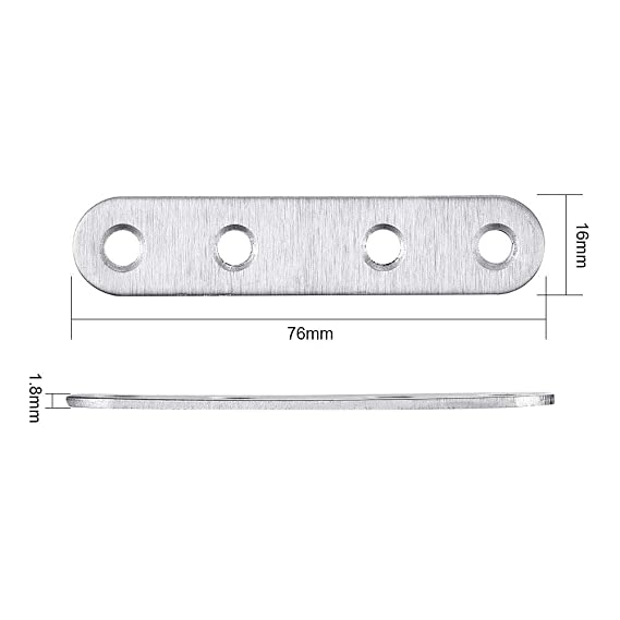 INCREWAY 10pcs 76x16mm Stainless Steel Flat Straight Brace Brackets Mending Plates Repair Fixing Bracket with Screws