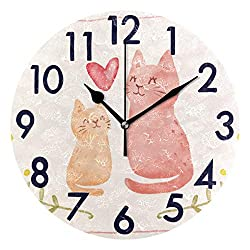 Chic Houses 8 Inch Wall Clock Colorful Pink Cat Clock Cute Animal Bathroom Kitchen Wall Clock Art for Kids Non Ticking Quiet Easy to Read for Bedroom Decor Round Clock 2030105