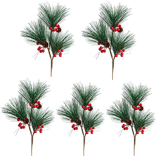 MUFEN 5pcs Artificial Pine Picks Pinecone Red Berries Branches Faux Greenery Foliage Flower Crown Christmas Tree Decoration Holiday Home Winter Decor (Green) ()