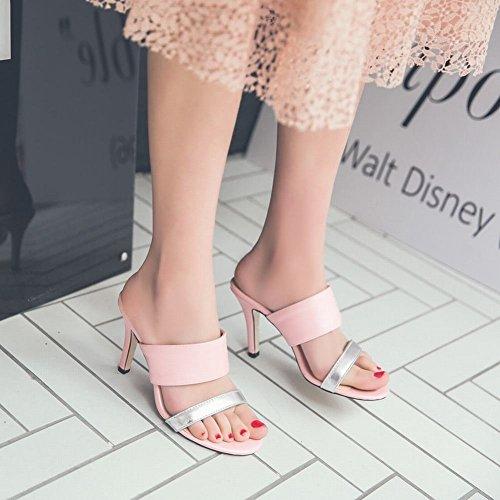 Mee Shoes Damen high heels open toe Slingback Pantoletten Pink