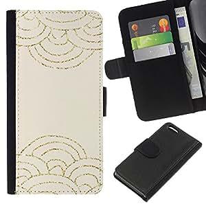 A-type (Clouds Abstract Scale Pattern Beige) Colorida Impresión Funda Cuero Monedero Caja Bolsa Cubierta Caja Piel Card Slots Para Apple iPhone 5C