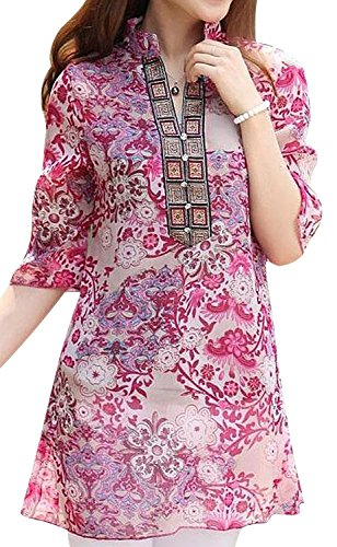 Glamour Vintage Blouse (Women's Vintage Ethnic Floral Print Casual Chiffon Shirt Blouses Tops (S, Red))