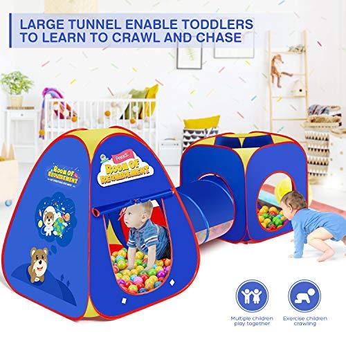 Peradix Tiendas de campaña para niños,3 en 1 Tienda Campaña Tunel Infantil,Pop Up Tienda de Juegos Plegable con Casita Infantil Exterior Interior Juguetes Niños Niñas Bebes Incluye Disparar y 3 bolas.