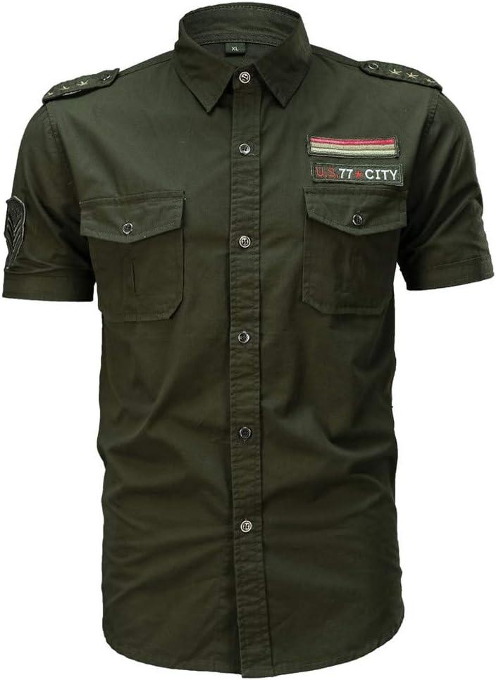 Camisas para Hombre, Estilo Militar, con Bolsillos, Botones y Cordones, Ajuste Personalizado, XL, Verde ejército: Amazon.es: Deportes y aire libre