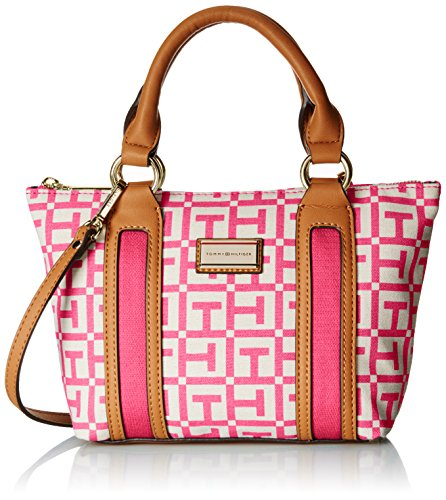 Tommy Hilfiger Lyla Satchel 1 Top Handle Bag NaturalPetunia One Size