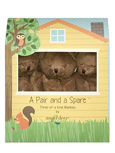 Angel Dear Pair and a Spare 3 Piece Blanket Set Box, Brown Bear Angel Bear Blanket