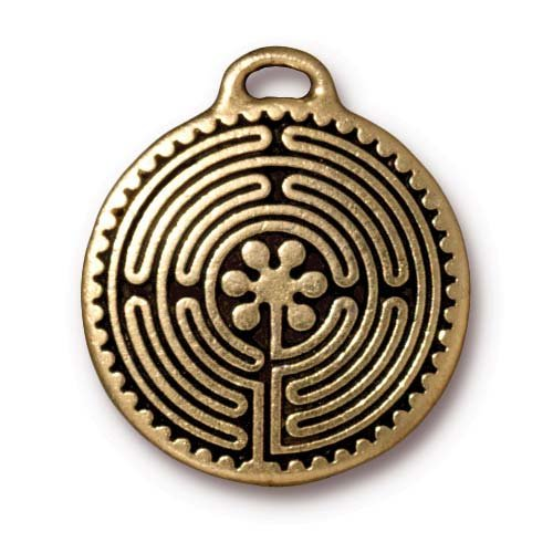 Antiqued 22K Gold Plated Labyrinth Round Pendant 26.5mm (1)
