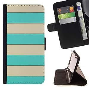 ForSamsung Galaxy S3 MINI i8190 (NOT S3) Case , Patrón Beige líneas horizontales de Verano- la tarjeta de Crédito Slots PU Funda de cuero Monedero caso cubierta de piel