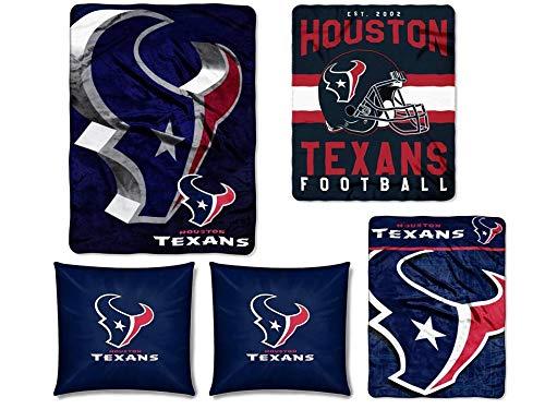 The Northwest Company NFL Houston Texans 5pc Ensemble: Set Includes (1) Blanket, (2) Throws, (2) Throw Pillows ()