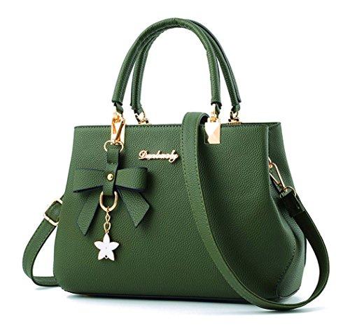Dreubea Womens Handbag Tote Shoulder Purse Leather Crossbody Bag Green