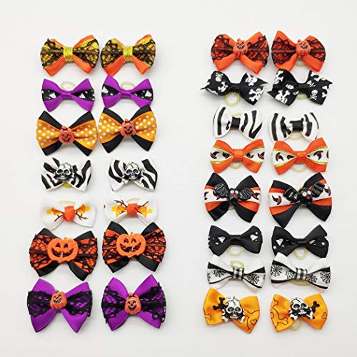 Halloween Hair Bow Resins (Hixixi 24pcs/12pairs Rhinestone Skull Pet Dog Hair Bows Halloween Designs Puppy Grooming Bows Hair Accessories with Rubber Bands)