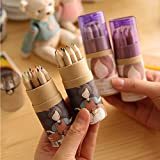 KitMax (TM) 4 Packs Cool Novelty Cute Girl Mini Colored Pencils with Sharpener Office School Supplies Students Children Gift (Color May Vary)