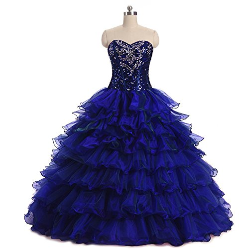 Diandiai Womens Sweetheart Beaded Quinceanera Dresses Crystal Organza Ball Gown Prom Dress