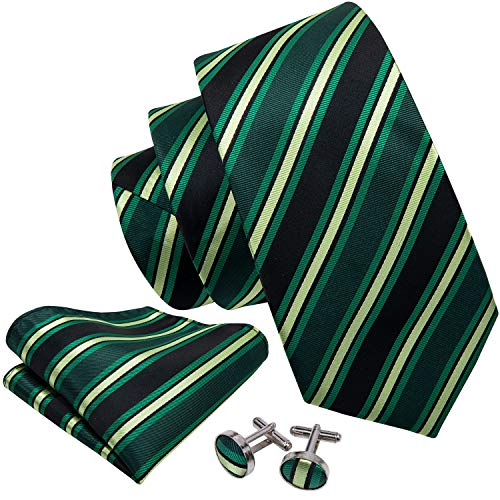 Necktie Handkerchief Stripes - Barry.Wang Mens Ties Stripe Necktie Handkerchief Cufflink Green