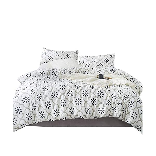 YuHeGuoJi 100% Cotton 3 Pieces Duvet Cover Set Modern Printed Pattern Bedding Set 1 Duvet Cover with Zipper Closure and Corner Ties 2 Envelope Pillow Cases Luxury Quality Soft Comfortable Durable