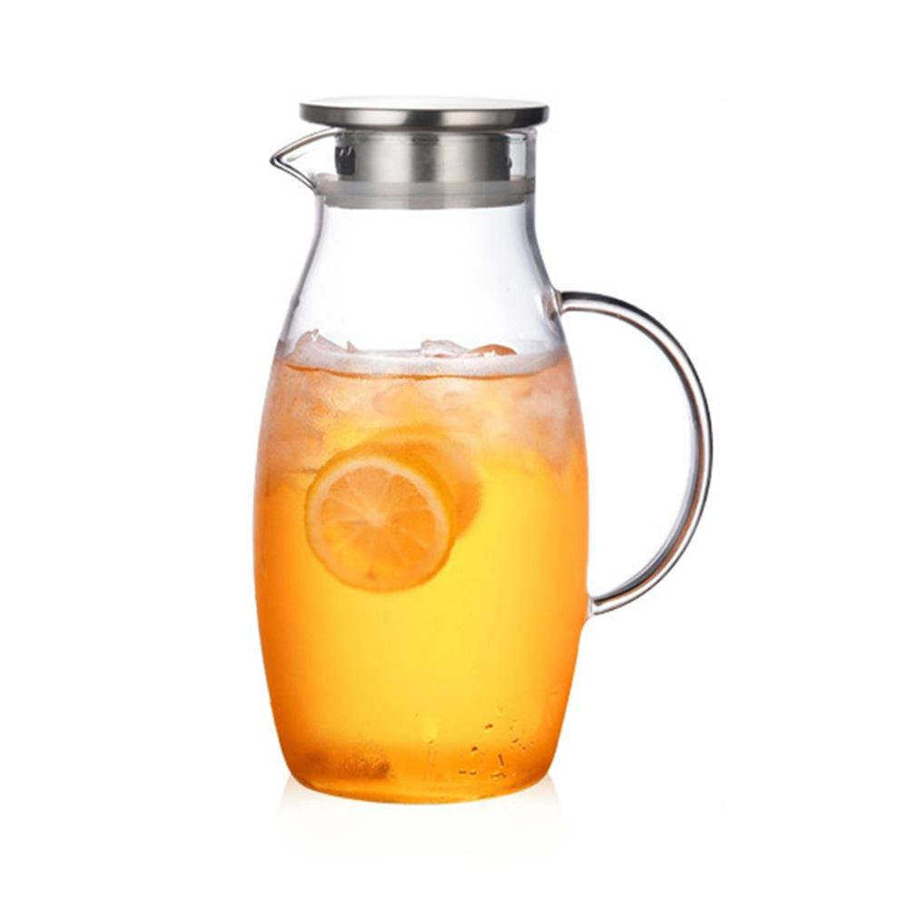 Prom-Near Water Jug Glass Explosion-Proof Heat-Resistant Water Jug for Hot/Cold Water Great for Homemade Juice Cold/Hot Glass Tea Pitcher for Ice Water, 1.8L