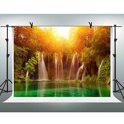 7X5FT Nature Landscape Waterfall Photography Backdrops Pretty Cascade Sunshine Green Trees Lake River Background for Children Party YouTube Studio Photo Video Props CHE002 LELEZ (Youtube Natur)