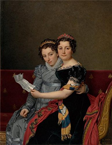 (Oil Painting 'The Sisters Zenade And Charlotte Bonaparte, 1821 By Jacques-Louis David' 20 x 26 inch / 51 x 66 cm , on High Definition HD canvas prints, gifts for Bath Room, Bed Room And Kitche decor)