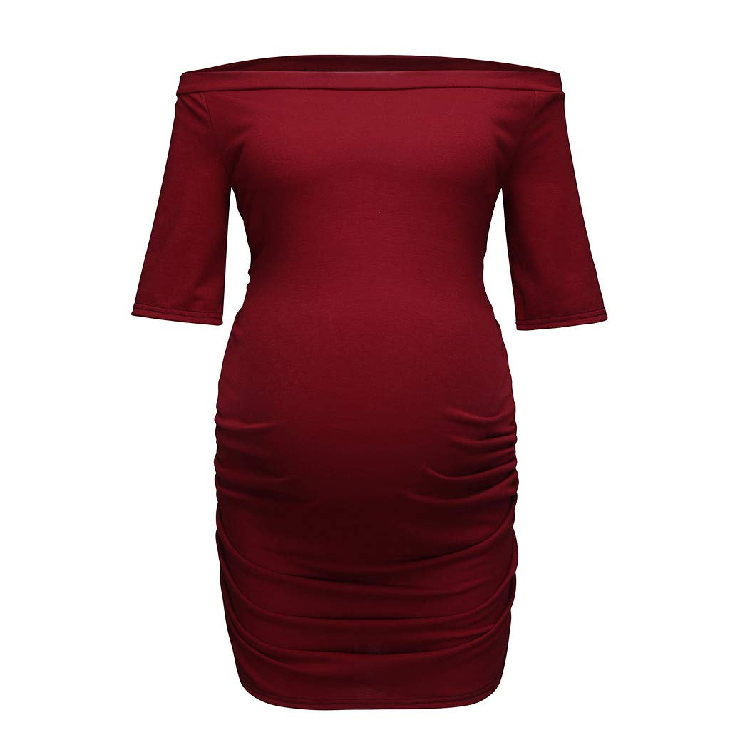 Dsood Pregnant Sweatshirt Hoodie for Women Plus Size,Women Pregnancy Short Sleeve One Shoulder Tops Nusring Maternity Clothes,Sports Fan Shop,Blue,XL