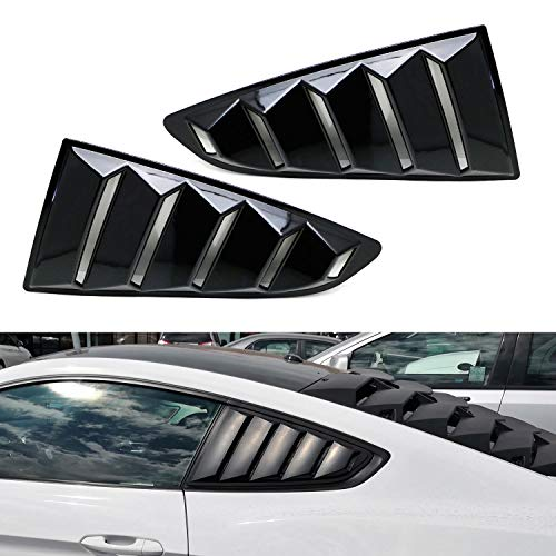 iJDMTOY Left/Right Glossy Finish Racing Style Rear Side Window Scoop Air Vent/Louver Shades For 2015-up Gen6 Ford Mustang ()