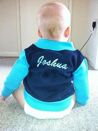 902a236ce0e Personalised Kids Baby Children Baseball Varsity Jacket Coat Boys Girls  (Navy Blue and Turquiose)