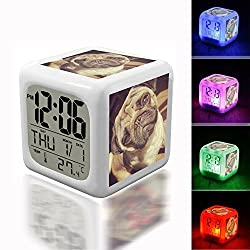 Digital Alarm Thermometer Night Glowing Cube 7 Colors Clock LED Customize the pattern 249.Pug, Dog, Animal, Breed, Thoroughbred