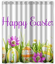 Unique Custom Special Design Happy Easter Waterproof fabric Polyester Shower Curtain