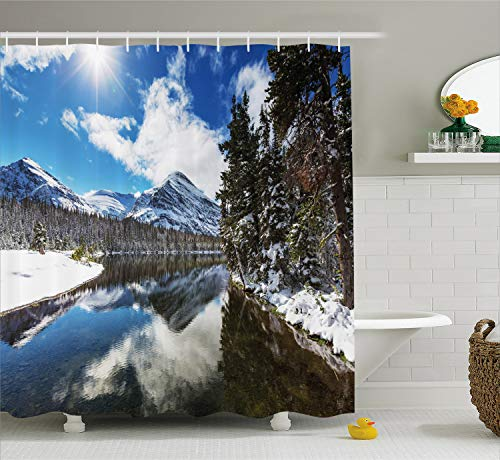 Ambesonne Winter Shower Curtain, Tranquil View of Glacier National Park in Montana Water Reflection Peaceful, Cloth Fabric Bathroom Decor Set with Hooks, 70