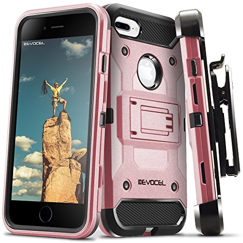 iPhone 7 Plus/iPhone 6 Plus Case, Evocel [Trio Pro Series] Textured Body, Multiple Layers, Kickstand for iPhone 7 Plus/iPhone 6 Plus/iPhone 6s Plus (5.5), Rose Gold