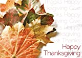 Thanksgiving Greeting Cards - TH1501. Business Greeting Card Featuring Autumn Leaves with Repeating Thanksgiving Messages. Box Set Has 25 Greeting Cards and 26 White with Gold Foil Lined Envelopes.