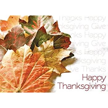 Amazon thanksgiving greeting cards th8009 business greeting thanksgiving greeting cards th1501 business greeting card featuring autumn leaves with repeating thanksgiving messages m4hsunfo