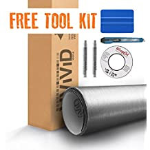 Silver Brushed Metal 5ft x 6ft VViViD8 Vinyl Wrap Roll with Air Release Technology with Free Tool Set Kit Included