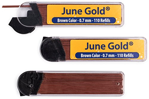 June Gold 330 Brown Colored Lead Refills, 0.7 mm, Medium Thickness for Delicate/Gentle Use with Convenient Dispensers