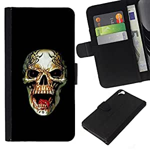 All Phone Most Case / Oferta Especial Cáscara Funda de cuero Monedero Cubierta de proteccion Caso / Wallet Case for HTC Desire 820 // Rogue Metal Heavy Rock Black Skull