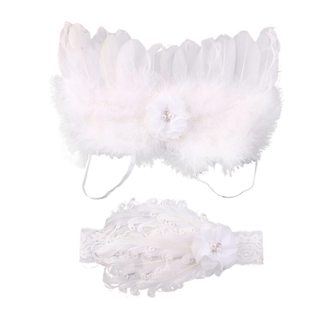 Tenworld Baby Girls Angel Feather Wings Photo Prop Outfits Hair Accessories Set Tenworld-set